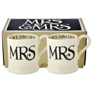 Black Toast Mrs & Mrs Mug Set