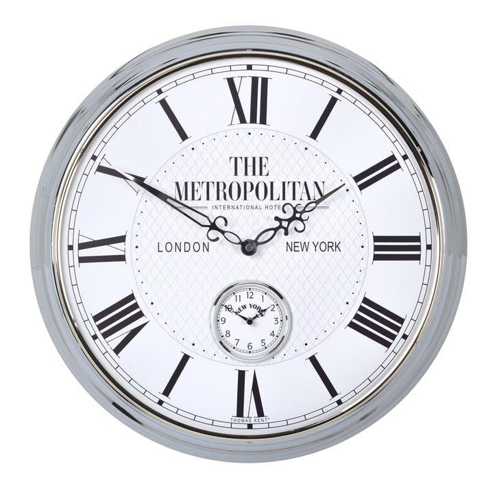 Campbell Metropolitan Clock, 51cm, Silver