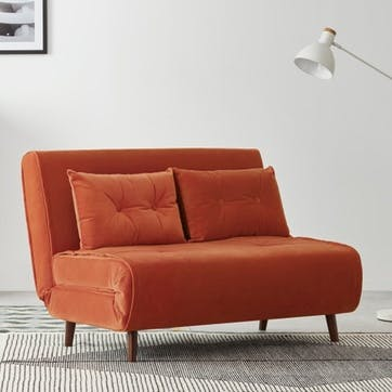 Haru Sofa Bed - Double; Flame Orange Velvet