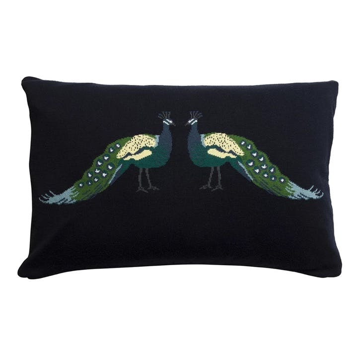 'Peacocks' Knitted Statement Cushion