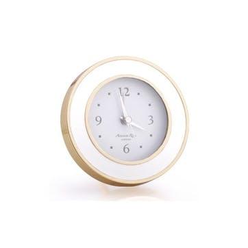 Alarm Clock; White Enamel & Gold