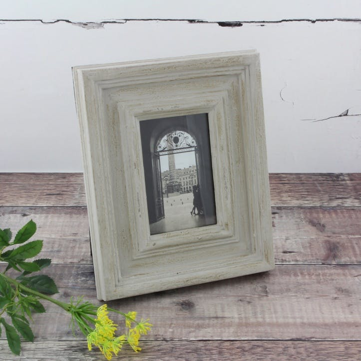 Antiqued Wooden Photo Frame - Small; Grey