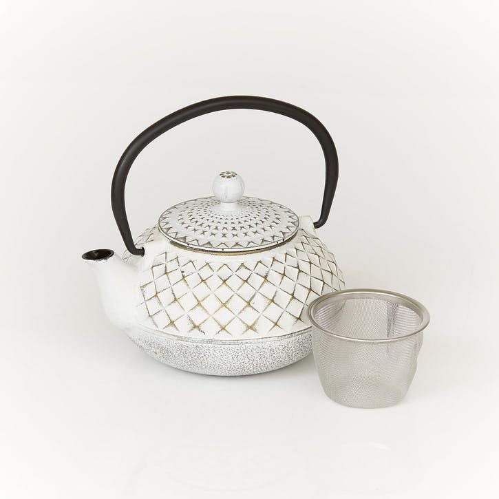 Cast Iron Teapot, Ivory & Gold
