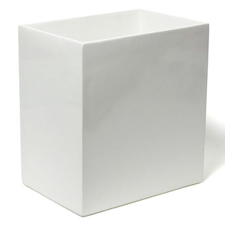 Lacquer Waste Basket, White