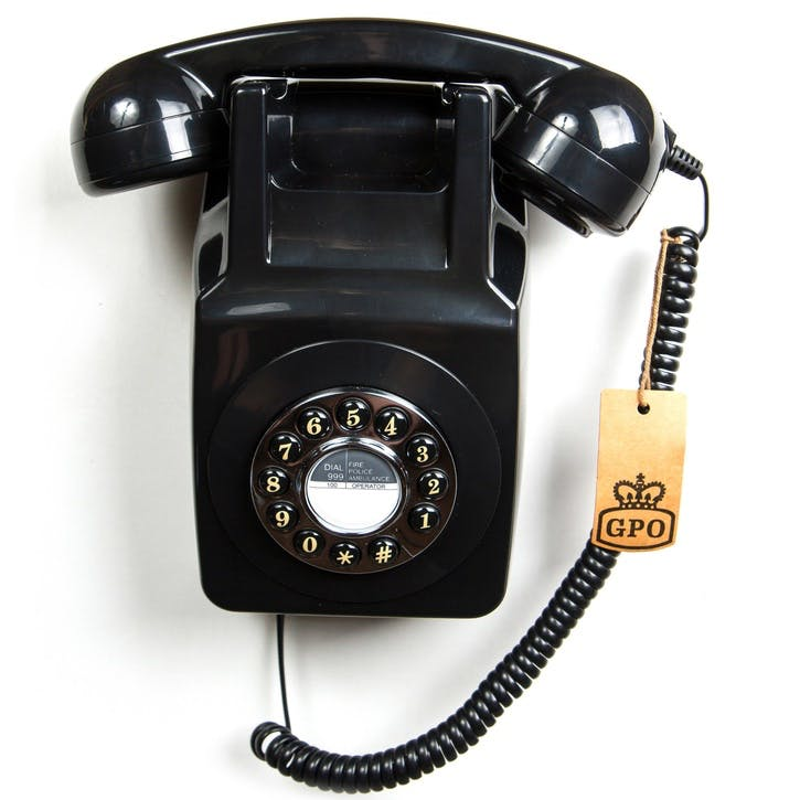 746 Wall Push Button Telephone; Black