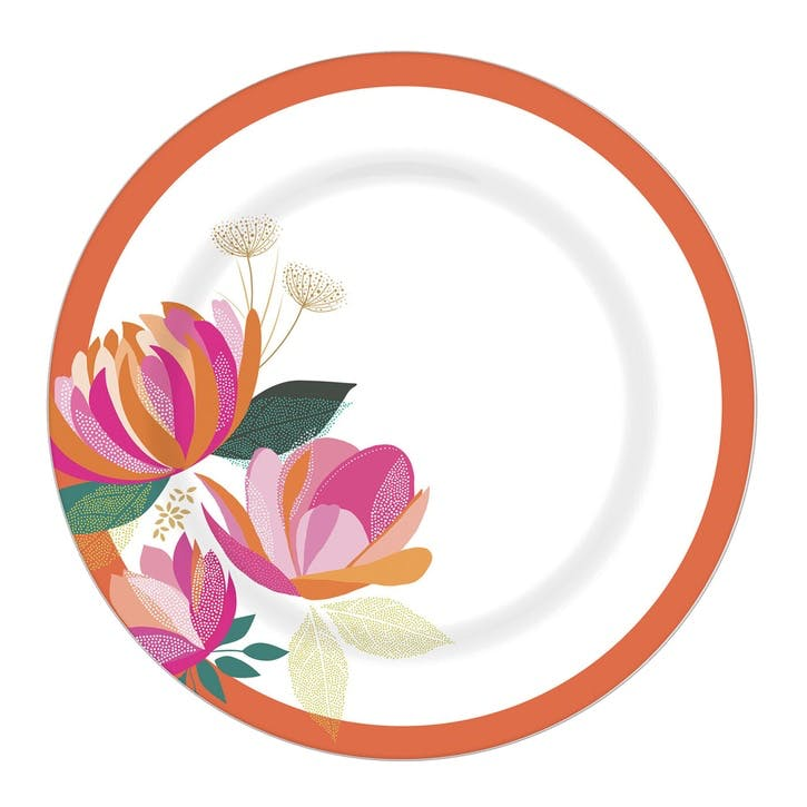 Peony Collection Melamine Dinner Plates, Set of 4