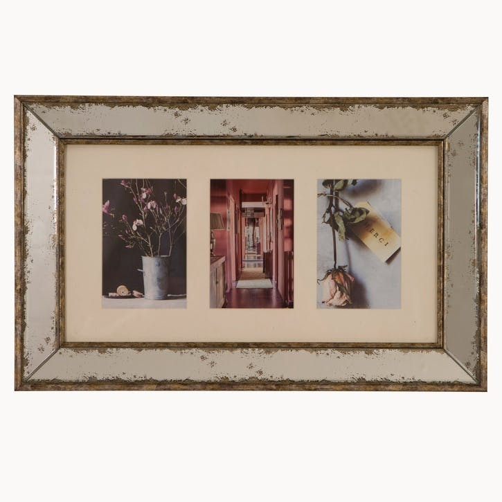 Hanging Photo Frame, 3 Aperture, Antiqued Glass