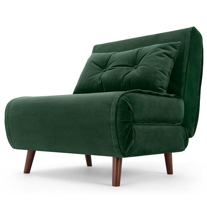 Haru Sofa Bed - Single; Pine Green Velvet