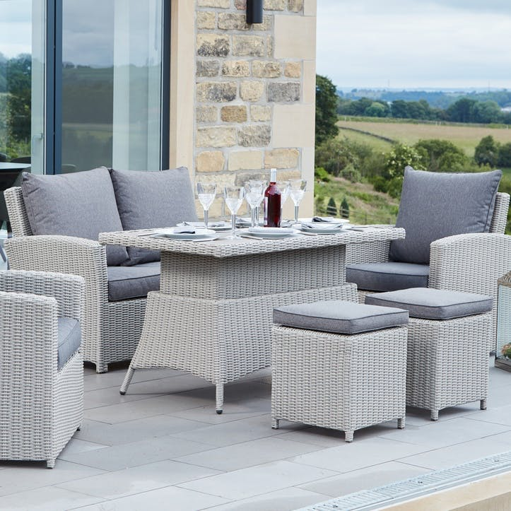 Barbados 2 Seater Relaxed Dining Set, Stone Grey