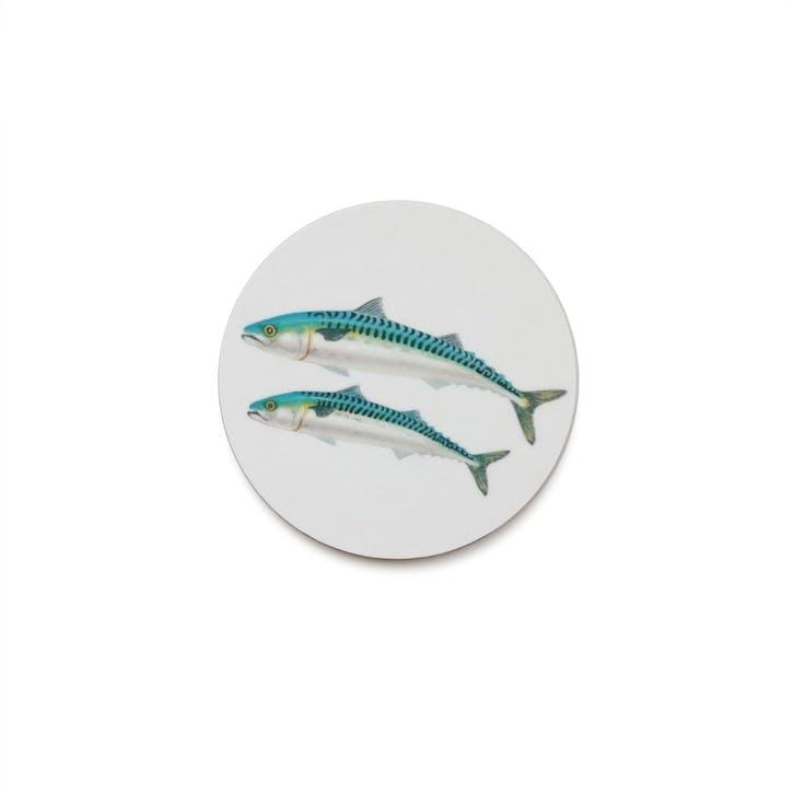 Seaflower Mackerel Coaster, 10cm, Blue