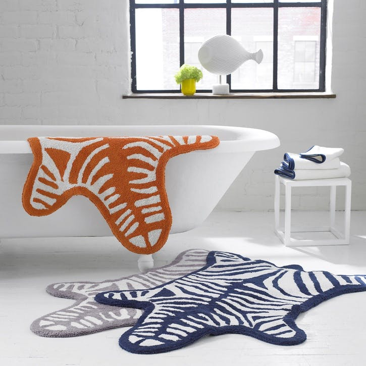 Zebra Bath Rug, Navy