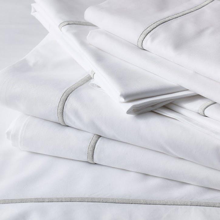 Savoy Flat Sheet, Double, Silver