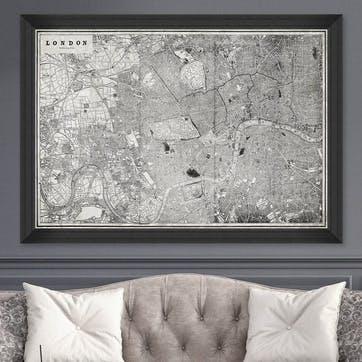 London Map, Black Framed Print,100 x 70cm