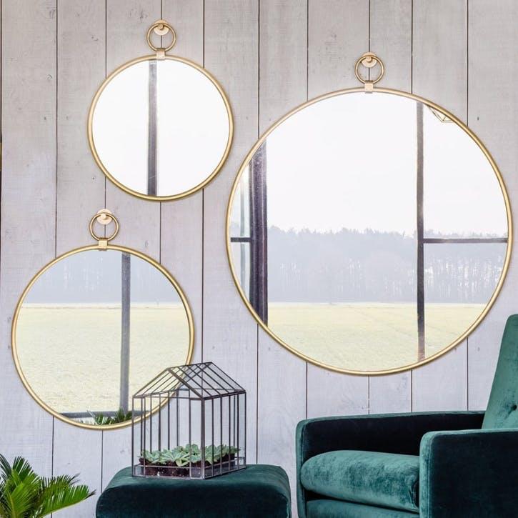 Antiqued Gold Pendant Mirror, Medium