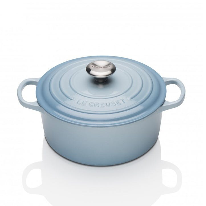 Cast Iron Round Casserole - 22cm; Coastal Blue