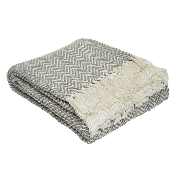 Herringbone Blanket, 2.3 x 1.3m, Dove Grey