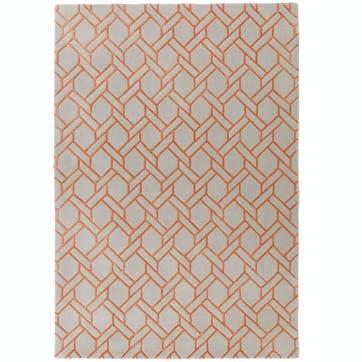 Nexus Fine Lines Rug, 1.6 x 2.3m, Silver/Orange