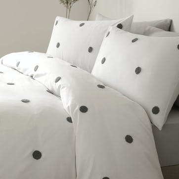 Polka Bedding Set, Double, Slate on White