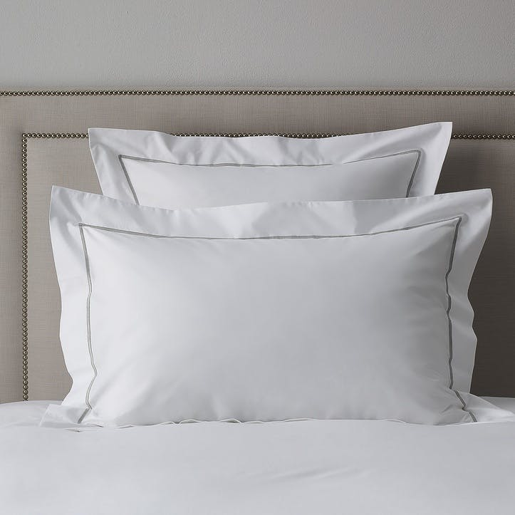 Savoy Oxford Pillowcase, Super King, Silver