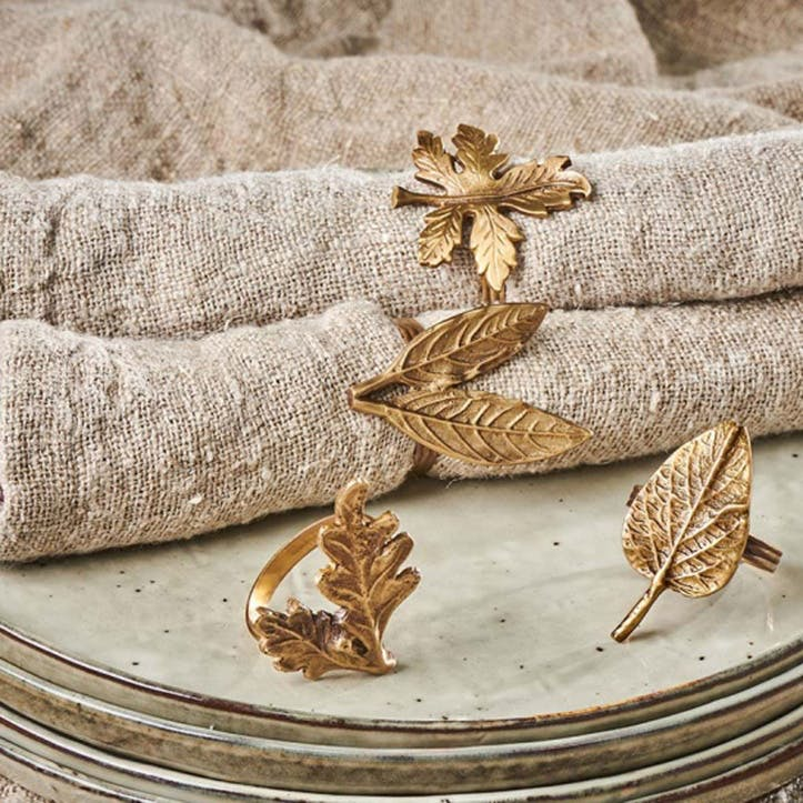 Leaf Brass Napkin Rings, Set of 4, Antique Brass