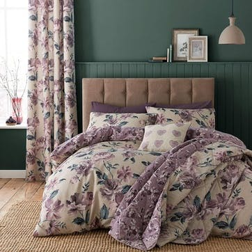 Painted Floral Bedding Set, Plum