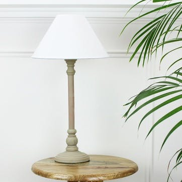 Small Taupe Bedside Lamp with Shade