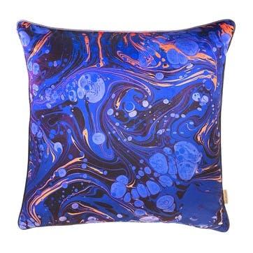Sapphire Marble, Square Velvet Cushion