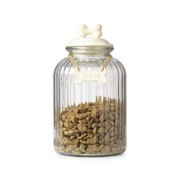 Woof Bone Glass Treat Jar; Cream