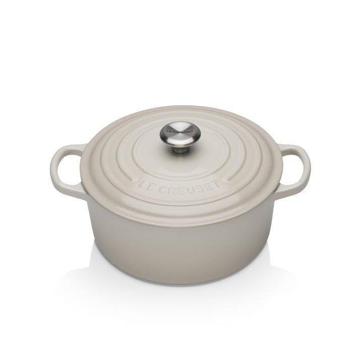 Signature Cast Iron Round Casserole, 20cm, Meringue