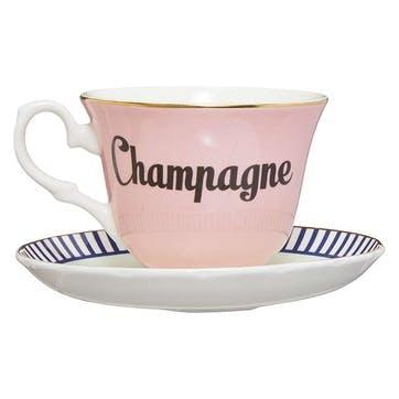 Pastel Champagne Teacup & Saucer