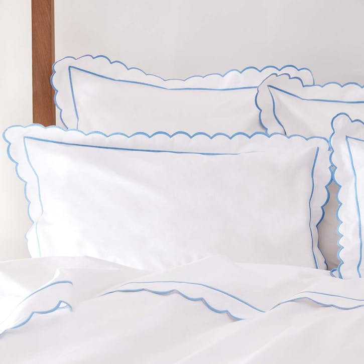 Blue Scalloped Double Duvet Cover