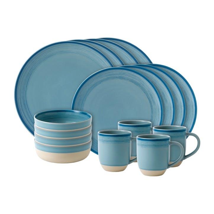 ED Ellen DeGeneres Brushed Glaze 16 Piece Dinner Set, Polar Blue