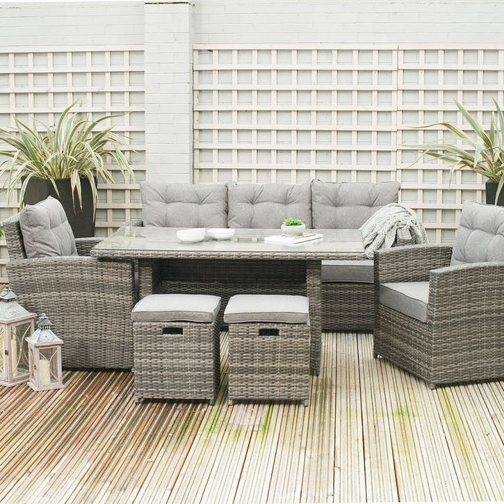 Cayman Seating Set with Relaxed Dining; Stone Grey
