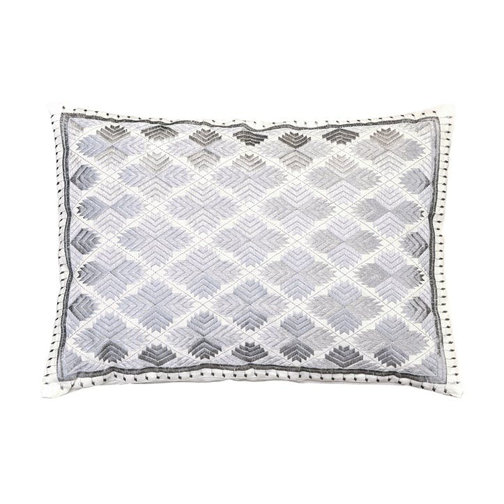 Phulkari Diamonds Rectangular Cushion, 50x35cm, Silver Metallic