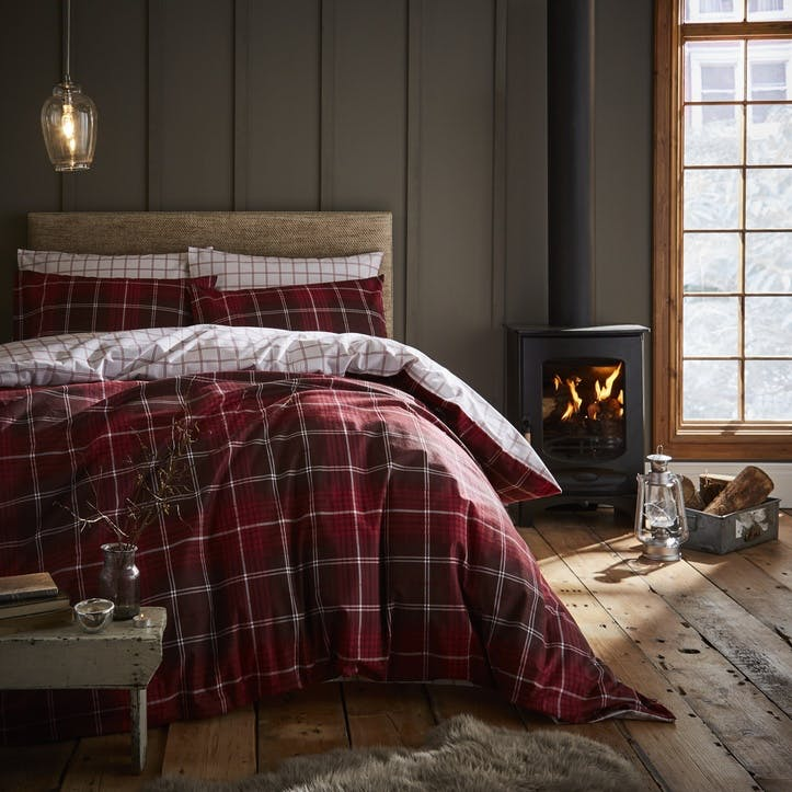 Brushed Tartan Check King Bedding Set, Red