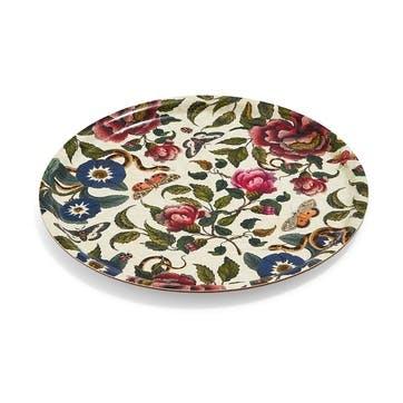 Round Birch Tray Cream, Floral