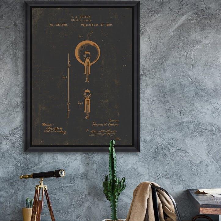 Edison Bulb Black Framed Print, 70 x 100cm