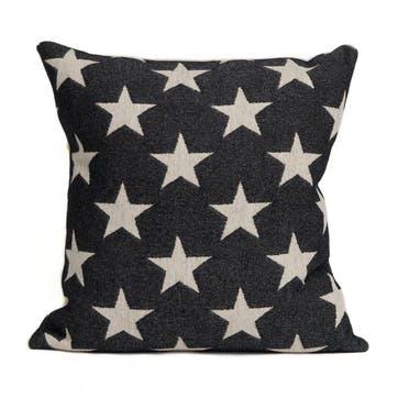 Antares Star Cushion Linen On Black, 40cm