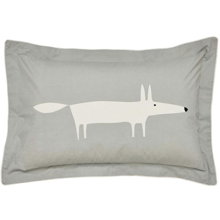 Mr Fox Oxford Pillowcase, Silver