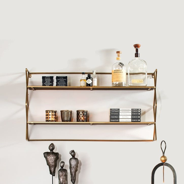 Zig Zag Shelf Unit, Brass