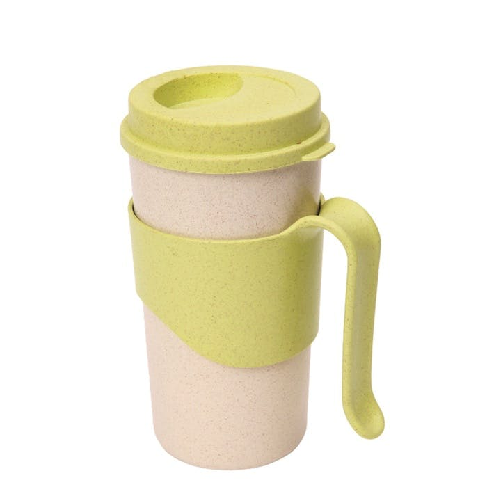 Pastel Wheatfibre Travel Mug, 450ml, Apple Green