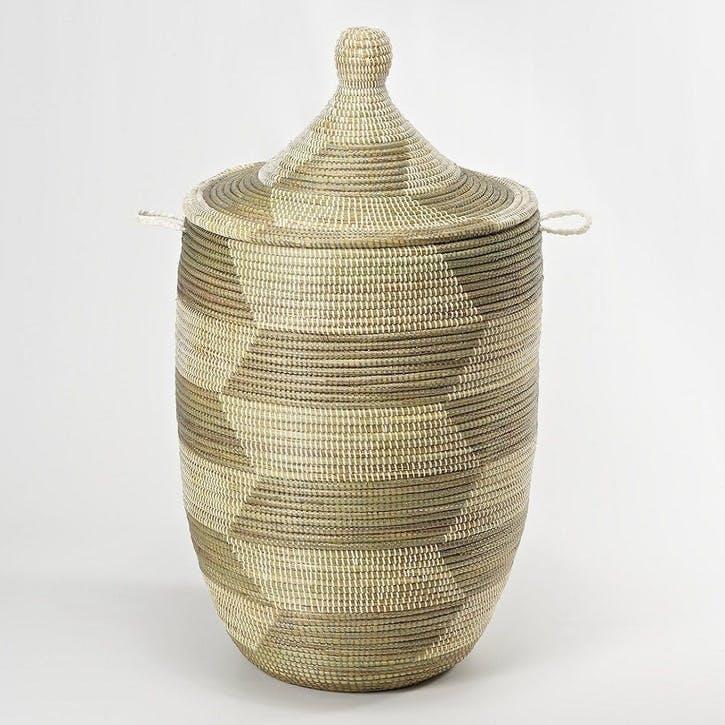 Ali Baba Laundry Basket, Large, Natural/ Grey