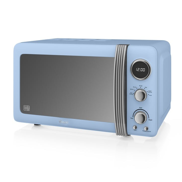 Retro 800W Digital Microwave, Blue