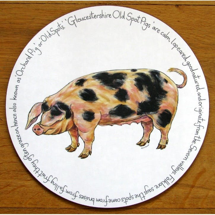 Gloucestershire Old Spot Pig Tablemat - 28cm
