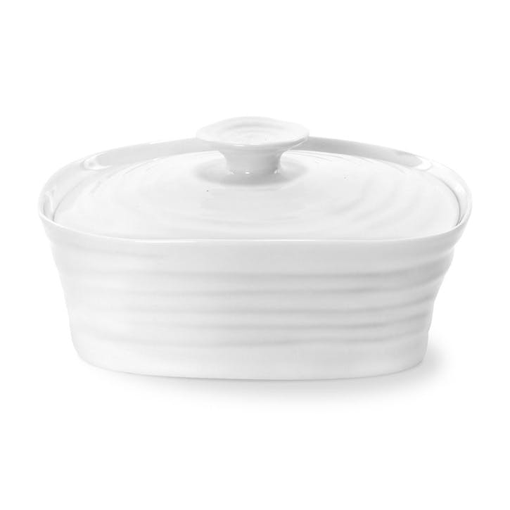 Covered Butter Dish; White