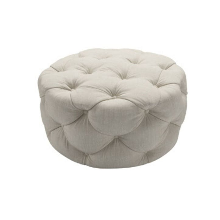 Georgette, Round Footstool, Canvas Pure Belgian Linen