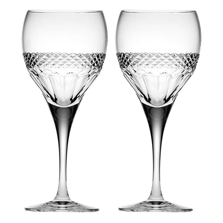 Diamonds Large Crystal Wine Glasses, Set of 2