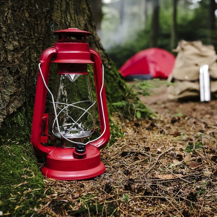 Adventure Begins Outdoor Hurricane Lamp, Red
