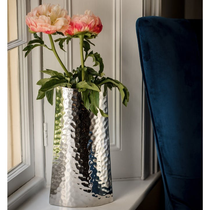 Hammered Silver Curved Vase - Small
