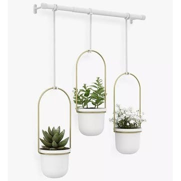Triflora, Hanging Planter, White/Brass